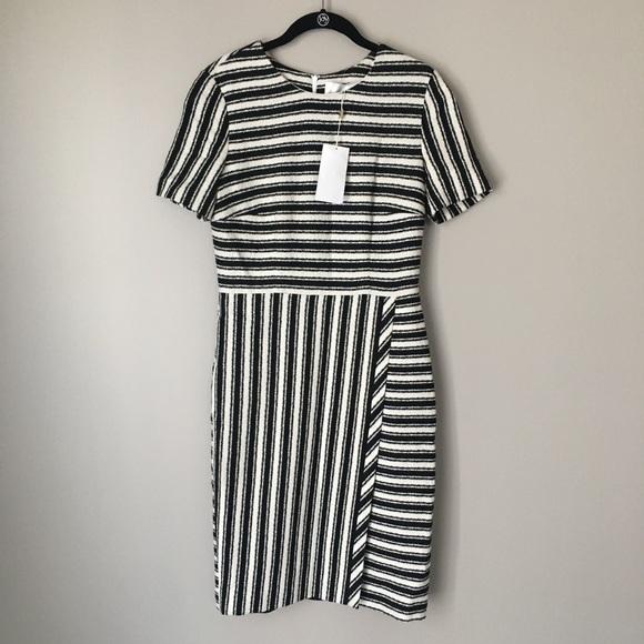 """Hugo Boss """"Haripela"""" Black   White Striped Dress 4ff356e85d"""